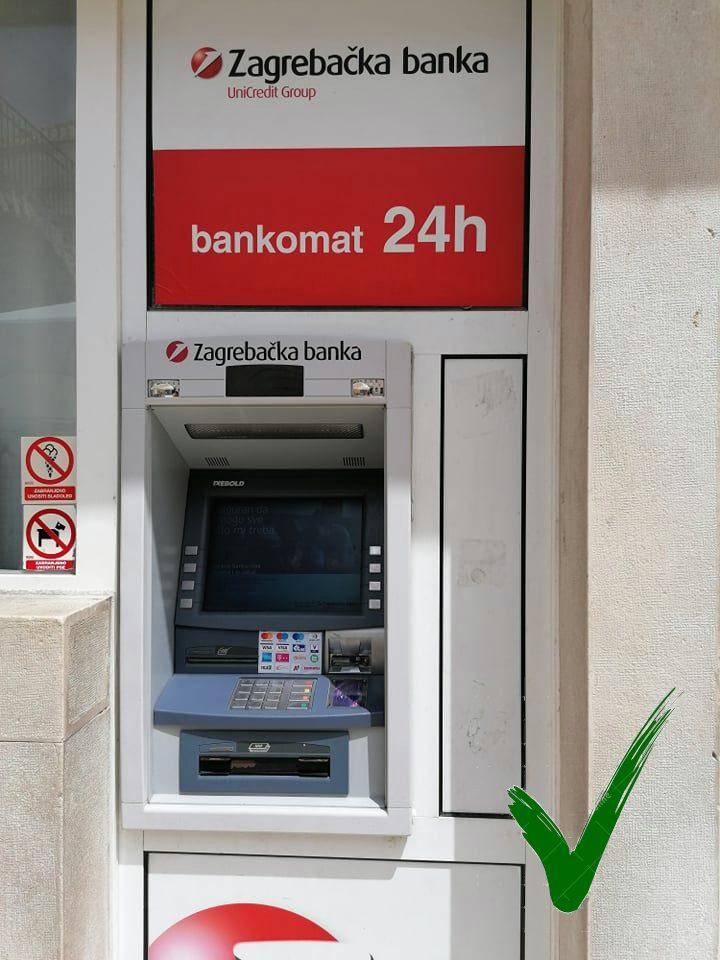 Bankautomaat Zagrebska banka