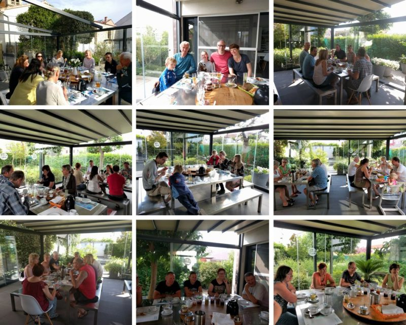 collage ontbijt in de tuin