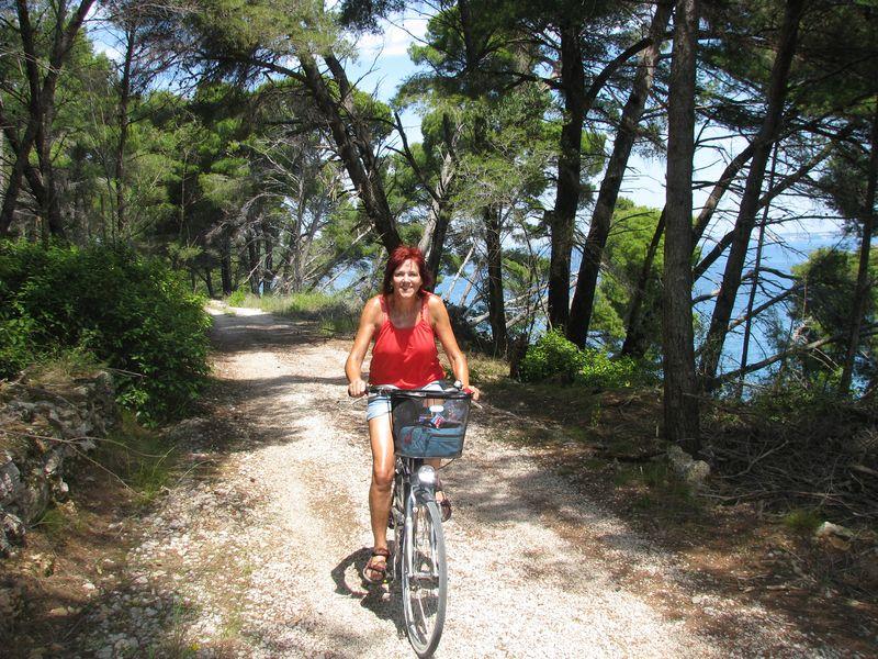 door het bos van eiland Ugljan
