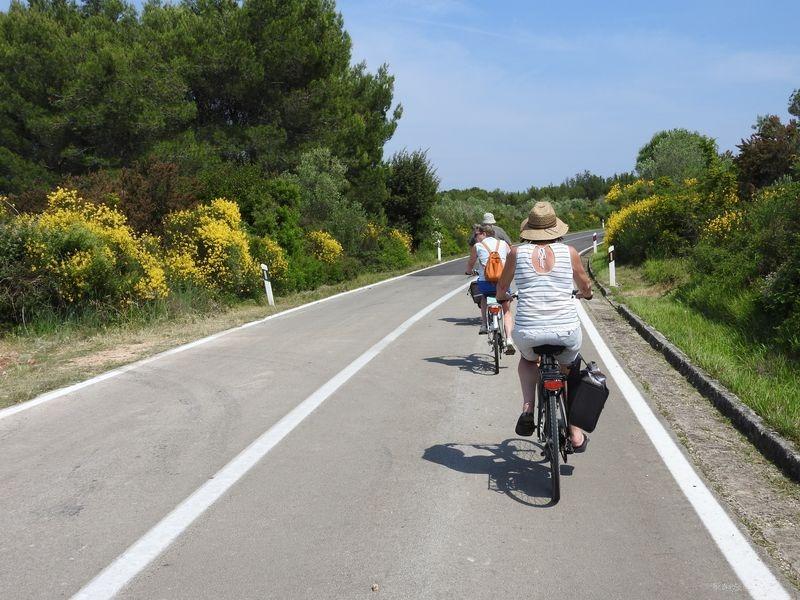 fietsen op de hoofdweg van Ugljan