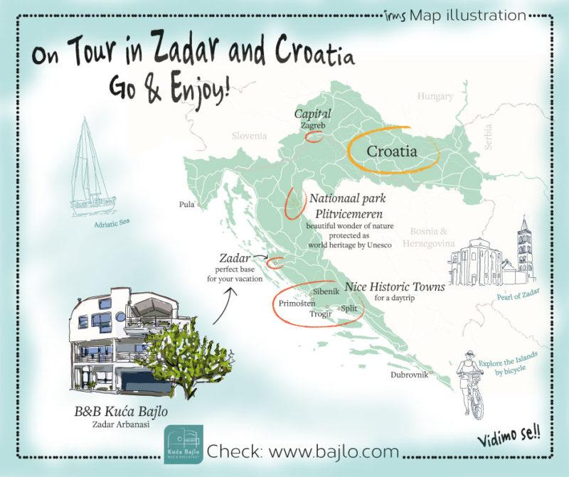 Op toer in zadar en Kroatië, landkaart