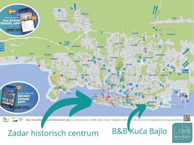 kaart Zadar en omgeving